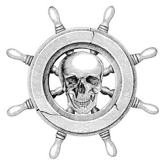 Volante antiguo barco dibujo a mano estilo vintage con cráneo humano, logotipo pirata