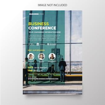 Volante de conferencias de negocios con diseño moderno.