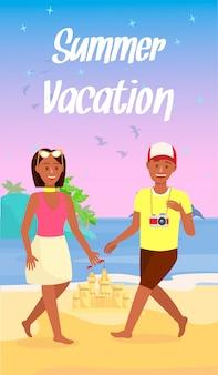 Volante de dibujos animados de vacaciones de verano con texto, letras