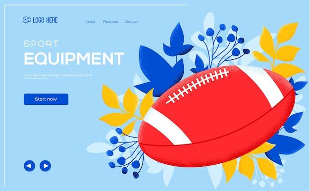 Volante de ragby o fútbol, banner web, encabezado de interfaz de usuario, ingresar al sitio.
