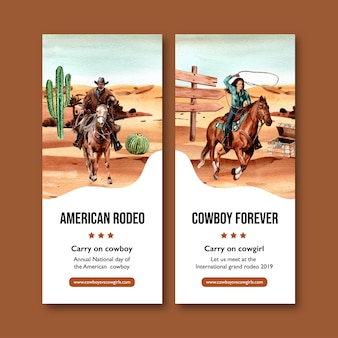 Volante de vaquero con caballo, persona, cactus, cofre