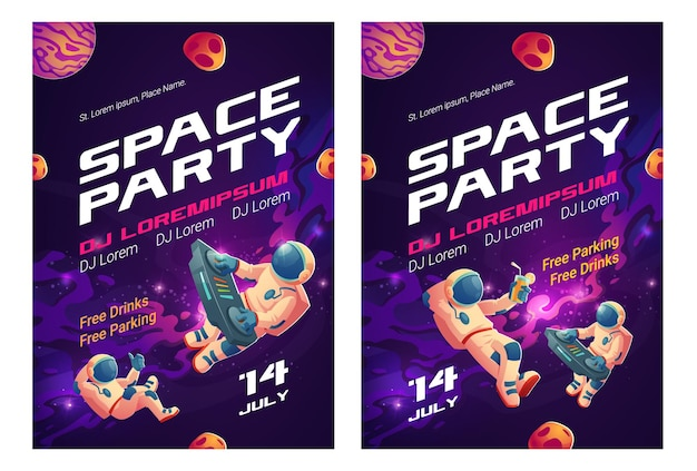 Volantes de dibujos animados de fiesta espacial, invitación al espectáculo musical con astronauta dj con tocadiscos en espacio abierto