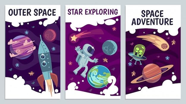 Volantes espaciales de dibujos animados. presentación futura de astronomía. póster de exploradores de galaxias, viaje por el universo con astronauta, cometa y cohete