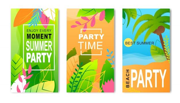 Volantes publicitarios establecidos que invitan a la fiesta de verano. tarjetas de invitación