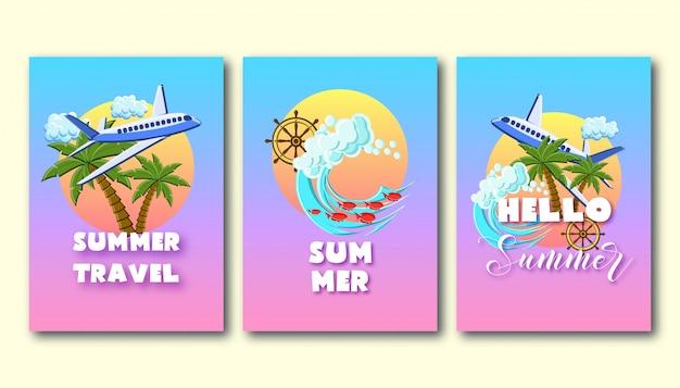 Volantes de vacaciones de verano con palmeras, avión, olas oceánicas, rueda de barco, en el cielo del atardecer.