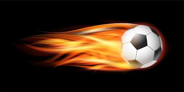 Volar balón de fútbol o fútbol en llamas.
