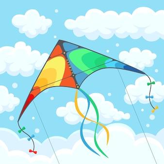 Volar cometas de colores en el cielo con nubes aisladas sobre fondo