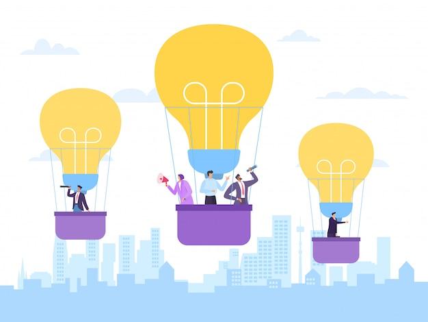 Volar en globo de aire caliente, idea de negocio, ilustración. proyecto exitoso de innovación, empleado de empresa hombre mujer personas
