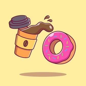 Volar una taza de café y una dona ilustración de dibujos animados plana aislada