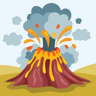 Volcán de catástrofe de desastre natural