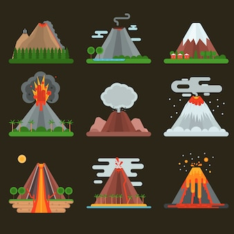 Volcán establece ilustración vectorial.