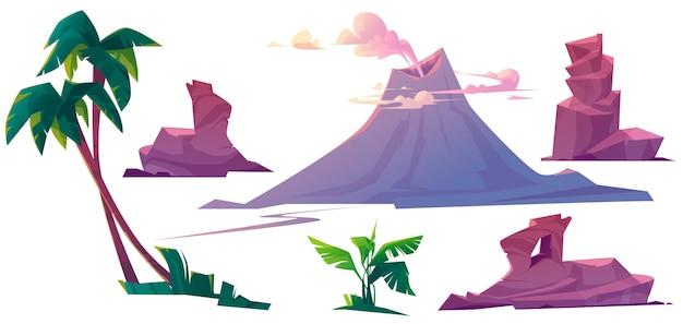 Volcán con humo, rocas y palmeras.