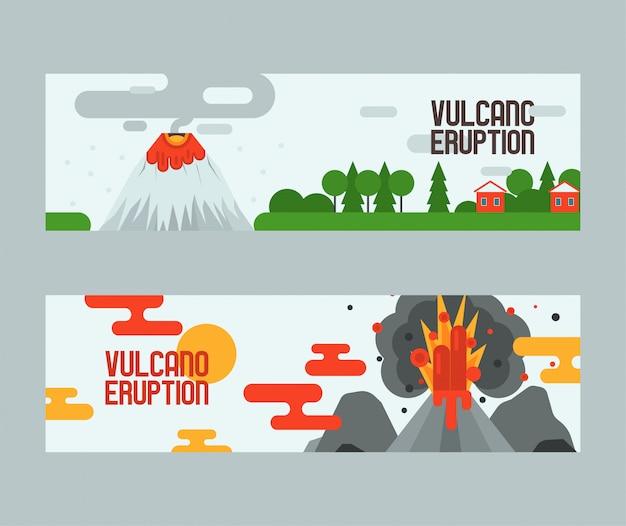 Volcaneruption volcanismo explosión convulsión de la naturaleza volcánica en montañas ilustración telón de fondo