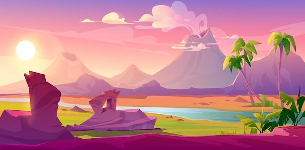 Volcanes humeantes, dibujos animados de fondo volcánico