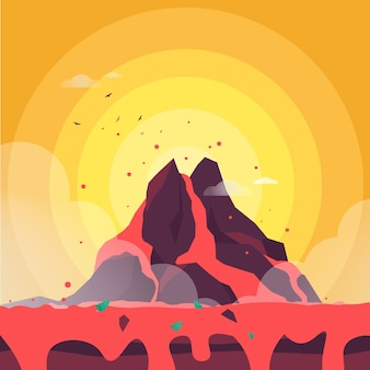 Volcano magma flat style