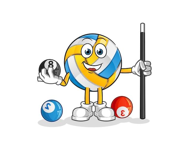 El voleibol juega al carácter de billar. mascota de dibujos animados