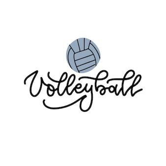 Voleibol letras lineales negras sobre fondo blanco con voleibol voleibol caligrafía deporte ...