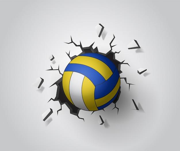 Voleibol en la pared rota. vector de ilustración eps10.