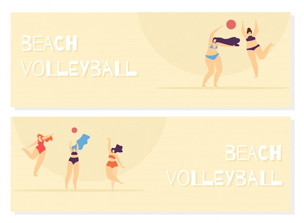 Voleibol de playa jugando mujer cuerpo positivo.