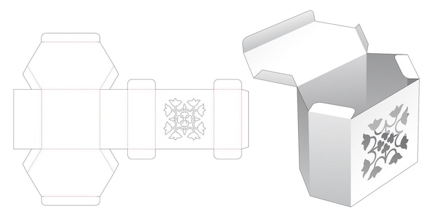 Voltee la caja hexagonal con la plantilla de lujo en la plantilla troquelada superior