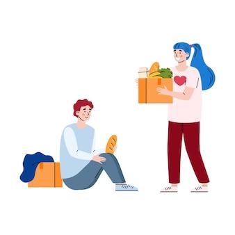 Voluntaria femenina dona comida a un hombre pobre sin hogar una ilustración vectorial