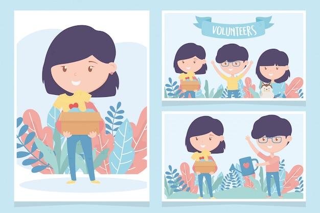 Voluntariado, ayuda caridad jóvenes protección de donación donando tarjetas