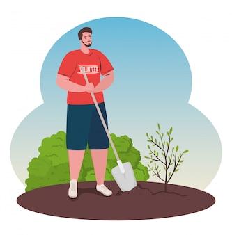 Voluntariado, concepto social de caridad, hombre voluntario planta árbol, estilo de vida ecológico