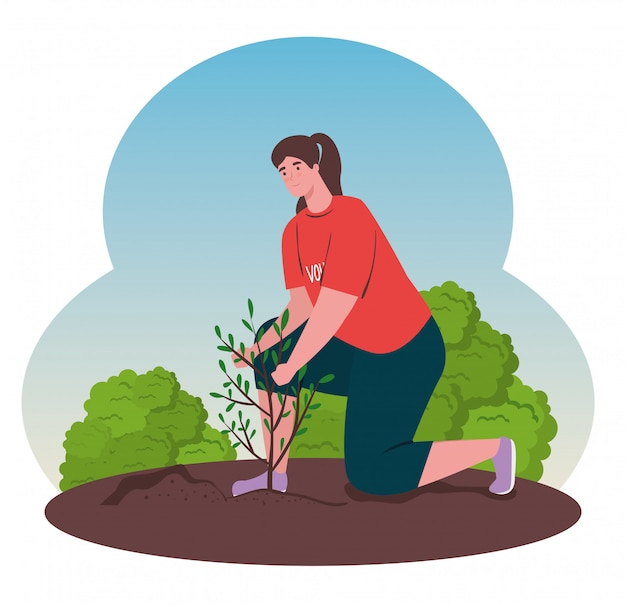 Voluntariado, concepto social de caridad, mujer voluntaria planta árbol, estilo de vida ecológico