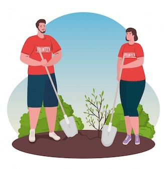 Voluntariado, concepto social de caridad, pareja voluntaria planta árbol, estilo de vida ecológico