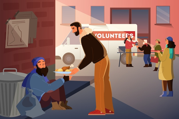 El voluntario ayuda a la gente a pensar. la comunidad de caridad apoya a las personas sin hogar, dona ropa, da comida. idea de cuidado y humanidad. ilustración