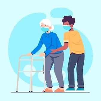 Voluntario ayudando a personas mayores
