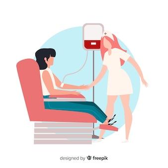 Voluntario de diseño plano donando sangre