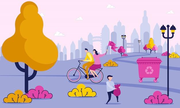 Los voluntarios apoyan el reciclaje del concepto de dibujos animados plana.