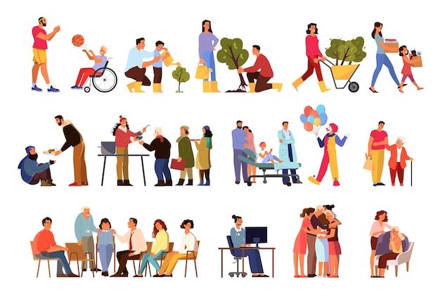 Los voluntarios ayudan a las personas a establecerse. colección de comunidad benéfica