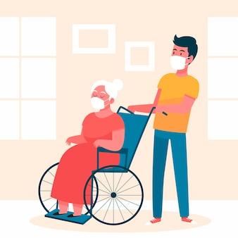 Voluntarios ayudando a personas mayores
