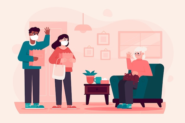 Voluntarios ayudando a personas mayores vector gratuito