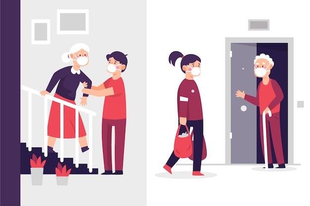 Voluntarios ayudando a personas mayores Vector Premium