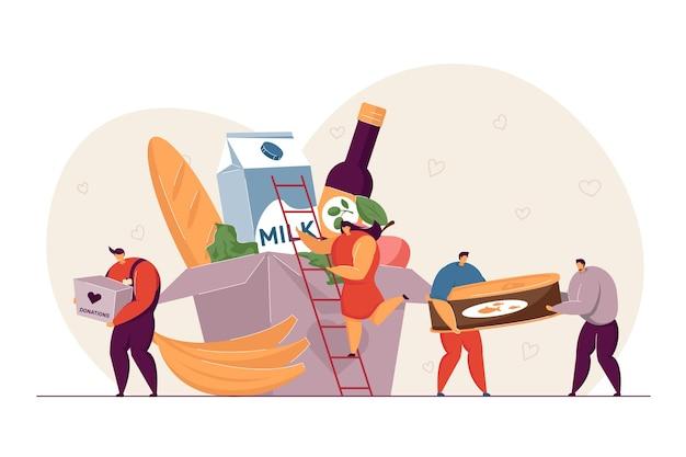 Voluntarios entregando comestibles ilustración plana