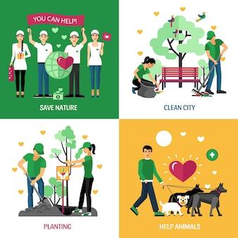Voluntarios personajes diseño concepto