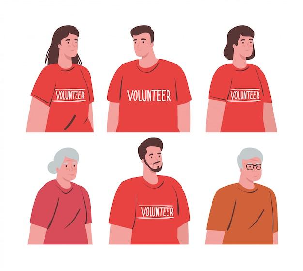 Voluntarios personas con concepto de donación de pareja de ancianos, caridad y asistencia social