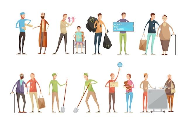 Voluntarios personas personajes planos establecidos con jóvenes voluntarios que ayudan a los animales ancianos y discapacitados