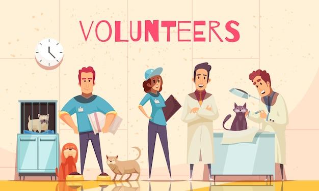 Voluntarios planos con veterinario en clínica veterinaria examinando mascotas enfermas entregadas por voluntarios