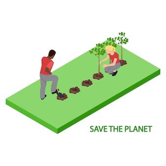 Los voluntarios plantan árboles 3d ilustración isométrica del vector