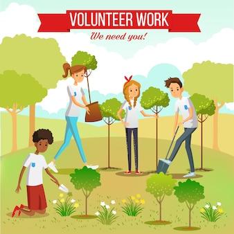 Voluntarios plantando arboles en el parque