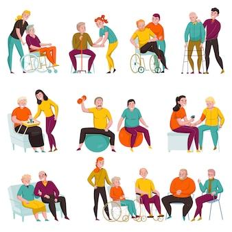 Voluntarios que ayudan a las personas mayores y discapacitadas en hogares de ancianos y apartamentos privados conjunto de ilustración vectorial plana