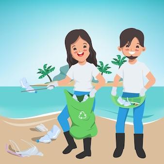 Voluntarios que guardan los desechos en la playa salvar el mundo salvar el medio ambiente cartel banner background
