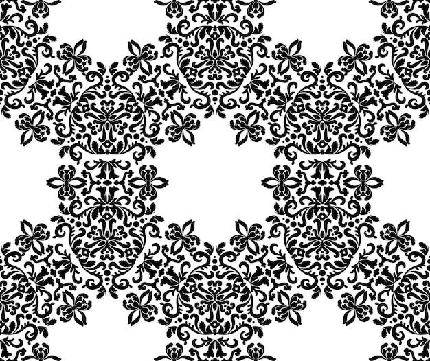 Volutes elegantes con adornos de patrones sin fisuras vector textura decorativa en blanco y negro