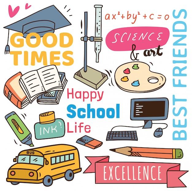 Volver al concepto de escuela fondo doodle