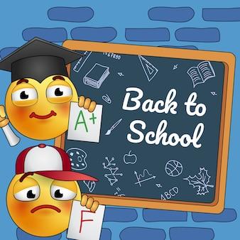 Volver al diseño del cartel de la escuela. caricatura estudiando smiley