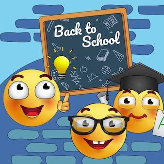 Volver al diseño del cartel de la escuela. dibujos animados estudiando emoticonos